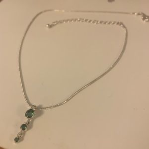 Silver and Emerald Necklace